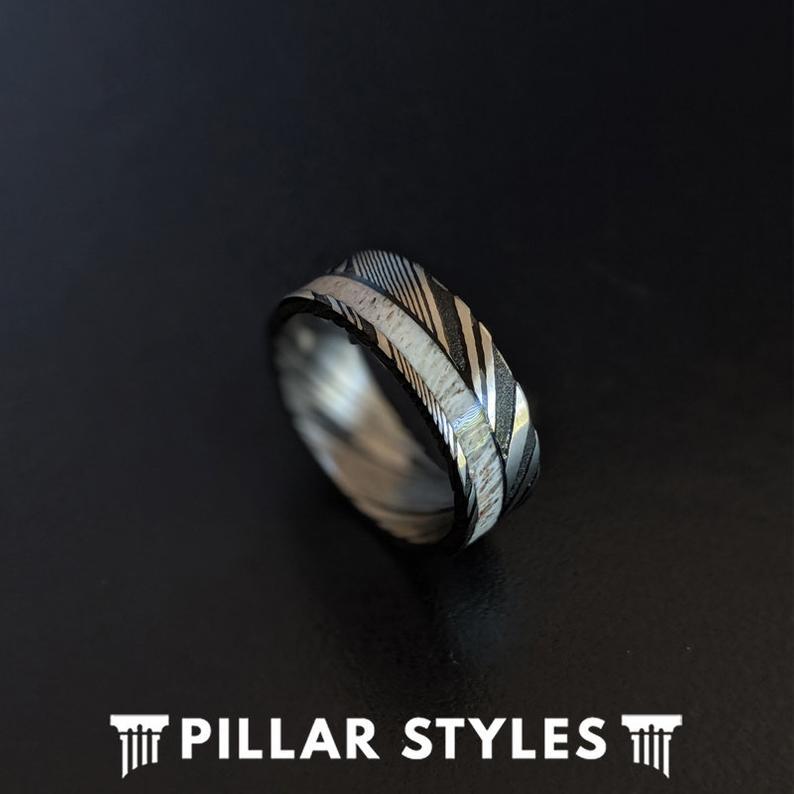 Damascus Steel Ring Deer Antler Ring Mens Wedding Band