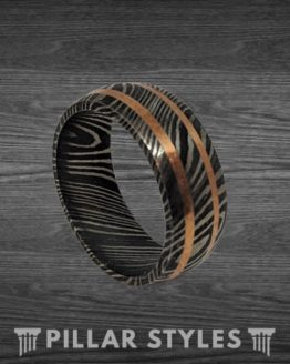 Damascus Steel Ring Mens Wedding Band with Copper Inlays
