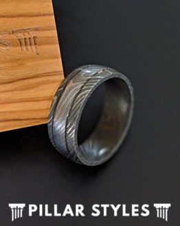 Damascus Steel Ring with Dual Grooves