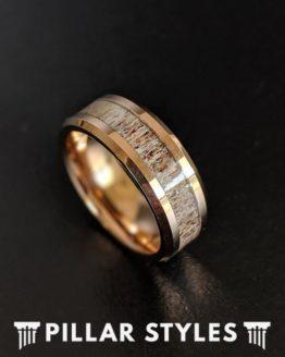Deer Antler Rings 14K Rose Gold Ring Mens Wedding Band