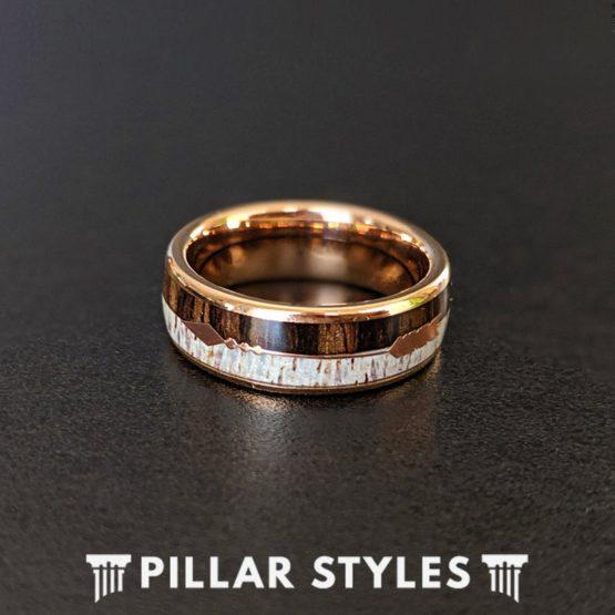 Dual Inlay Koa Wood Ring Mens Wedding Band
