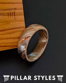 Rose Gold Damascus Steel Ring