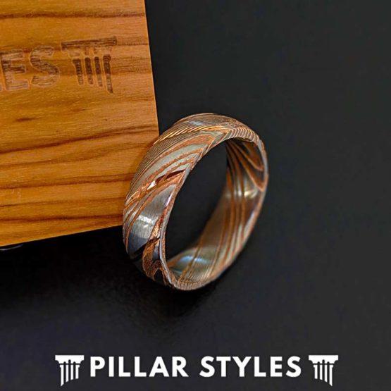 6mm Rose Gold Damascus Steel Ring