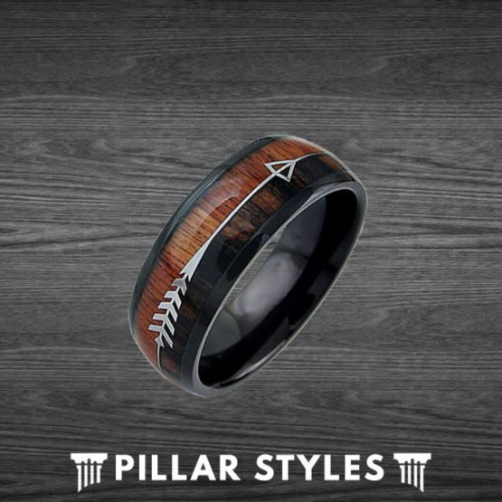Exotic Black Tungsten Koa Wood Ring Mens Wedding Band