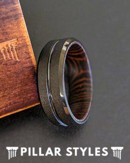Exotic Wenge Wood Ring Mens Wedding Band