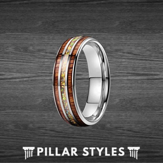 Fire Opal Ring Koa Wood Ring Tungsten Wedding Band Mens Ring
