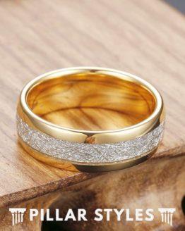 Gold Meteorite Mens Tungsten Wedding Band