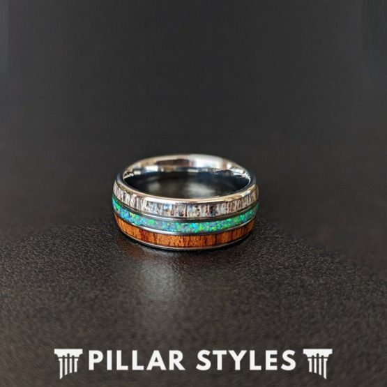 Green Opal Ring Deer Antler & Koa Wood Ring Mens Wedding Band