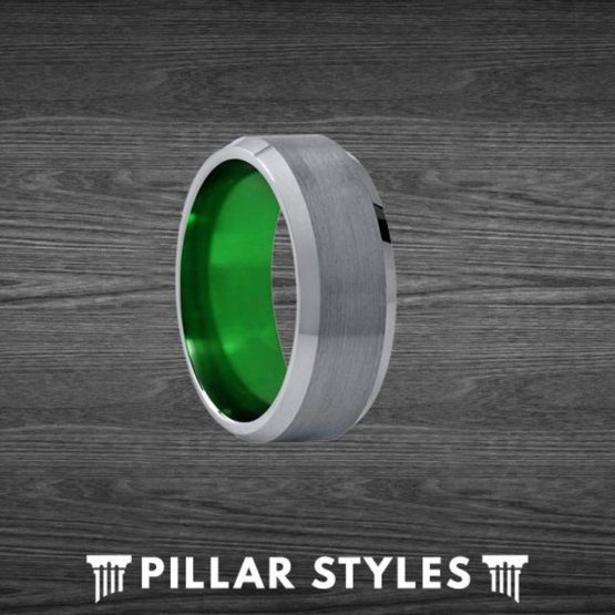 Gunmetal Gray Ring Tungsten Wedding Band Green Mens Ring