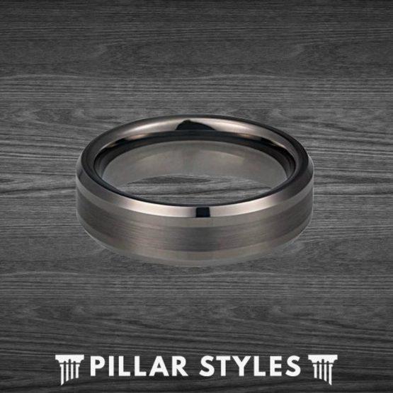 Gunmetal Ring Mens Wedding Band Tungsten Mens Ring