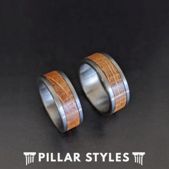 Gunmetal Whiskey Barrel Ring Wood Wedding Band Mens Ring 8mm Bourbon Barrel Tungsten Ring