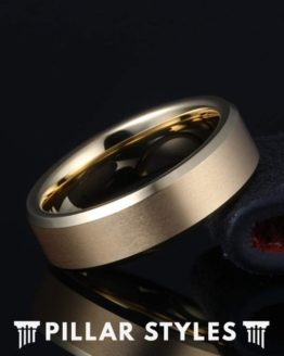 18K Gold Ring Mens Wedding Band with Beveled Edges