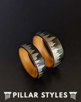 8mm Nature Ring Black Mens Wedding Band Forest Trees Mens Ring