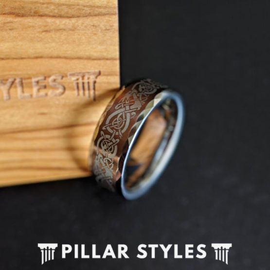 Viking Ring Mens Wedding Band Hammered Ring, 8mm & 6mm Norse Tungsten Ring