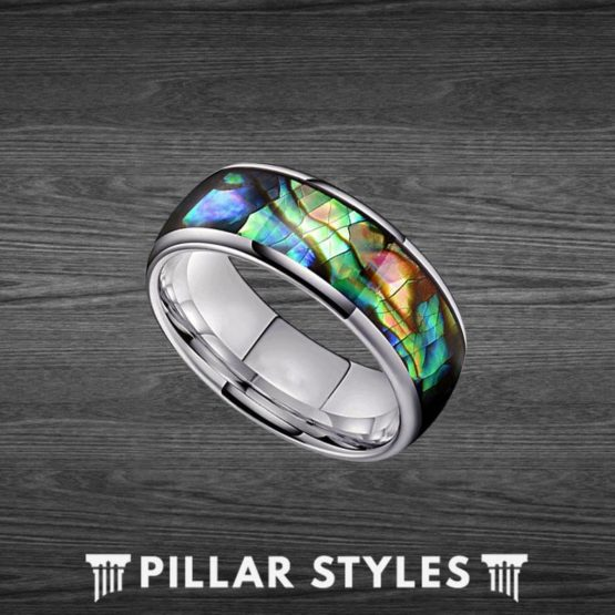 8mm & 6mm Mens Abalone Shell Ring Tungsten Wedding Band