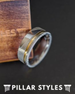 14K Gold Damascus Ring Mens Wedding Band