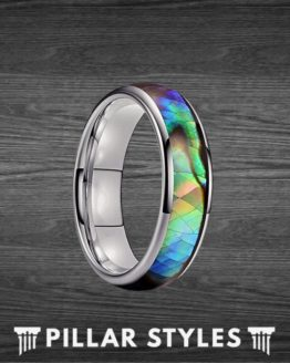 6mm Abalone Shell Ring Tungsten Wedding Band Womens Ring