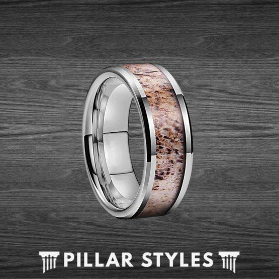 Deer Antler Ring Mens Wedding Band Silver Tungsten Ring