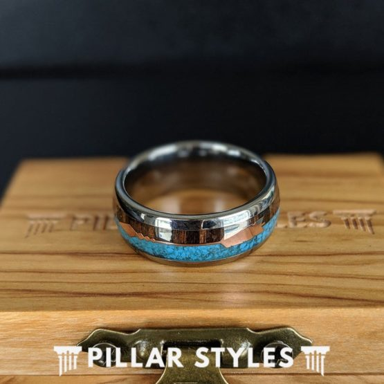 Koa Wood and Turquoise Ring with Rose Gold Arrow Inlay