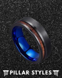 Koa Wood Blue Accent Tungsten Wedding Band