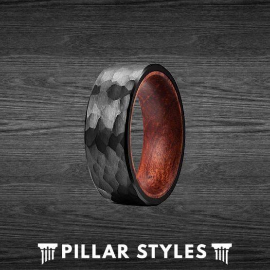 Koa Wood Ring Black Tungsten Hammered Wedding Band