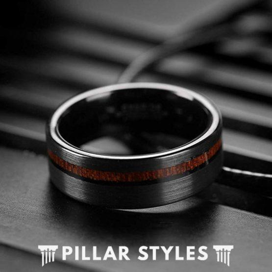 Koa Wood Ring Black Tungsten Wedding Band Mens Ring