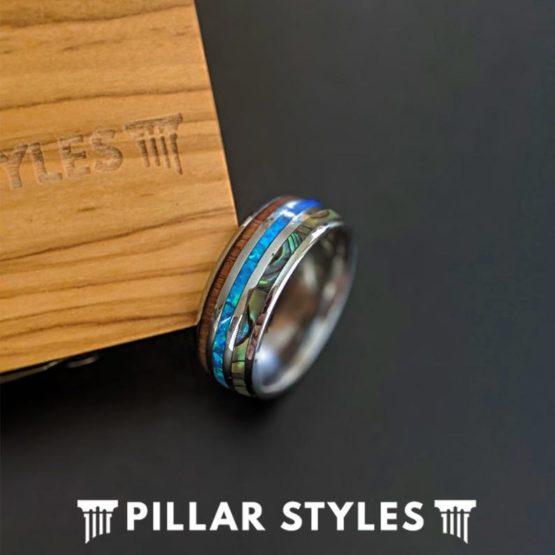 Koa Wood Ring with Abalone Shell & Blue Opal Ring Mens Wedding Band