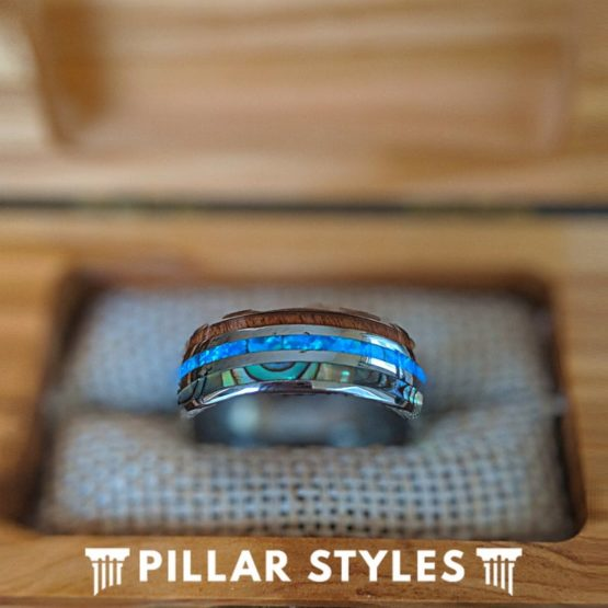 Koa Wood Ring with Abalone Shell & Blue Opal Ring Mens Wedding Band
