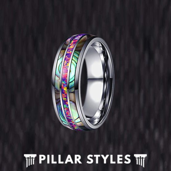 Lavender Opal Ring Mens Wedding Band Abalone Tungsten Ring