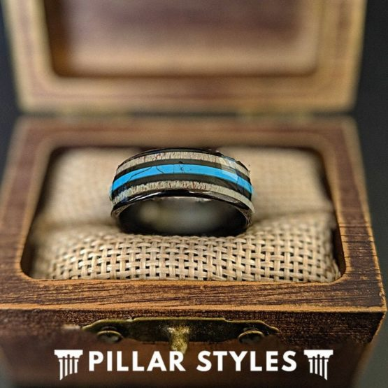 Mens Turquoise Ring Tungsten Wedding Band Mens Ring, Deer Antler Ring