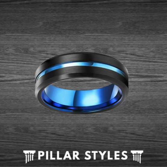 Mens Wedding Band Blue Ring Beveled Black Tungsten Blue Groove