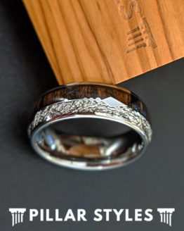 Meteorite Ring Mens Tungsten Wedding Band Koa Wood Ring