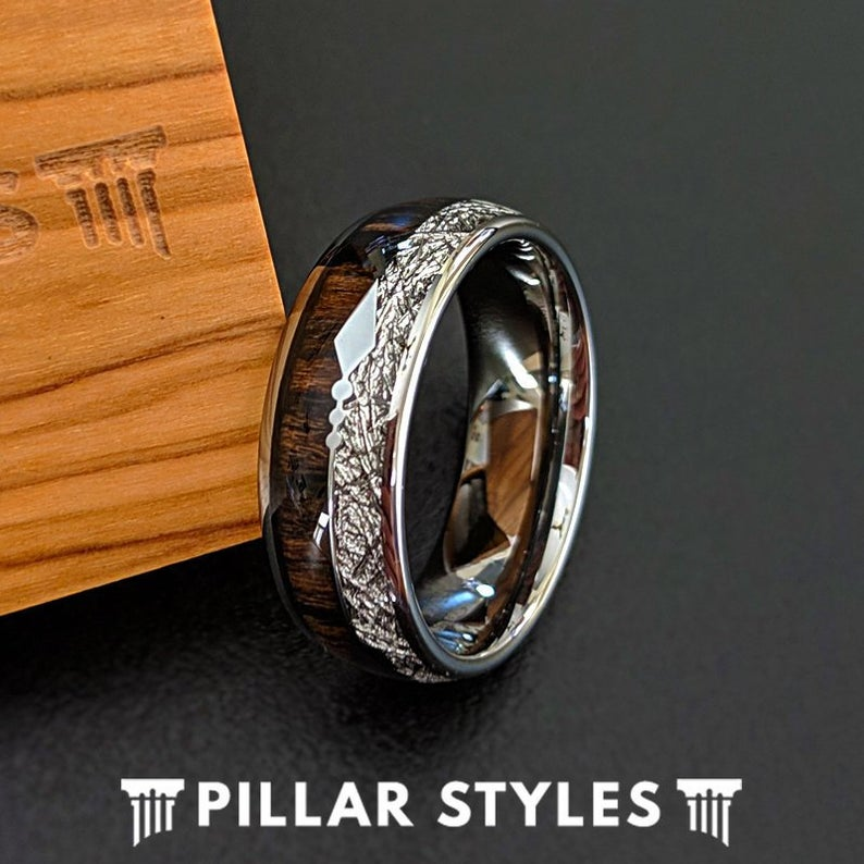 Meteorite Ring Mens Tungsten Wedding Band Koa Wood Ring
