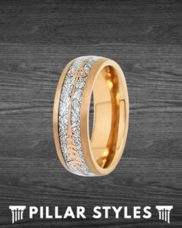 Meteorite Ring with Arrow Inlay Mens Wedding Band Rose Gold Ring