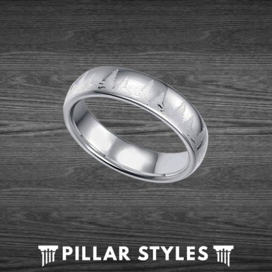 Nature Ring Mens Wedding Band Tungsten Forest Ring for Men