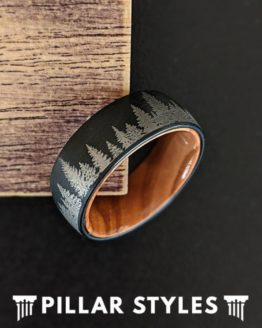 Nature Ring Mens Wedding Band Wood Ring with Forest Trees