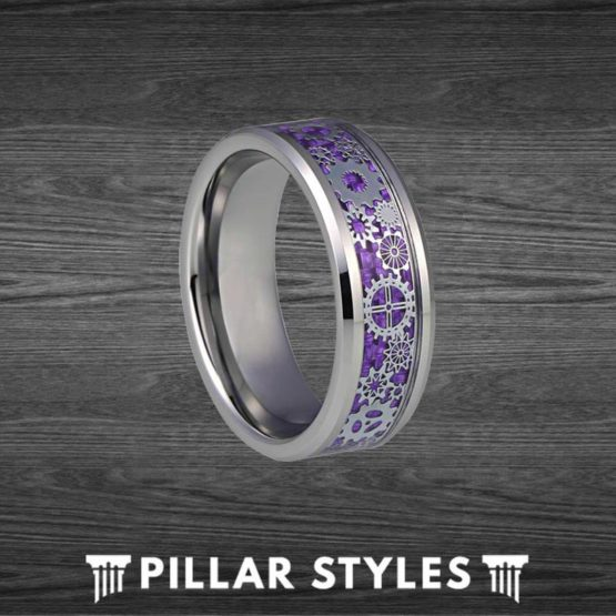 Purple Steampunk Ring Tungsten Wedding Band