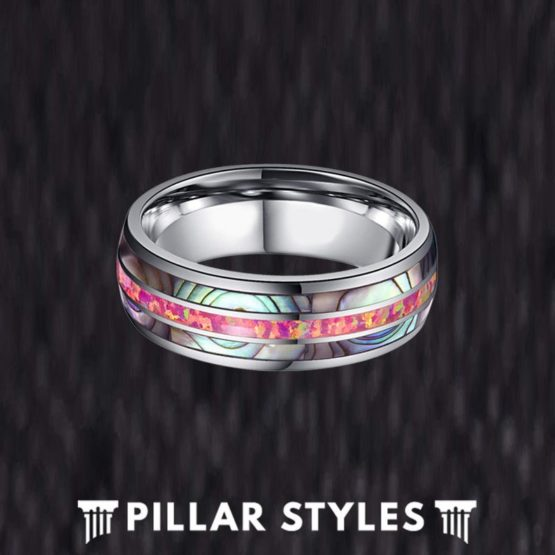Red Opal Ring Tungsten Wedding Band - Abalone Ring for Men
