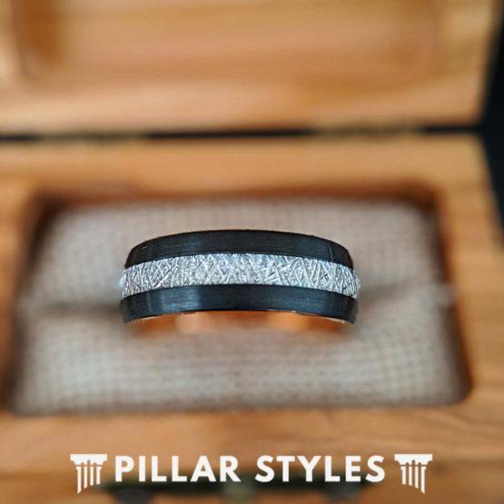 Rose Gold Meteorite Ring Mens Wedding Band Tungsten Ring
