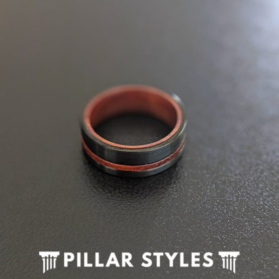 Rose Wood Ring Mens Wedding Band Black Tungsten Ring