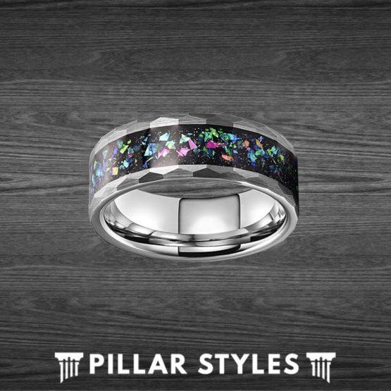 Silver Hammered Tungsten Opal Wedding Band