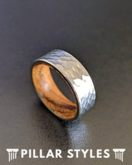 Silver Hammered Tungsten Wedding Band Koa Wood Ring