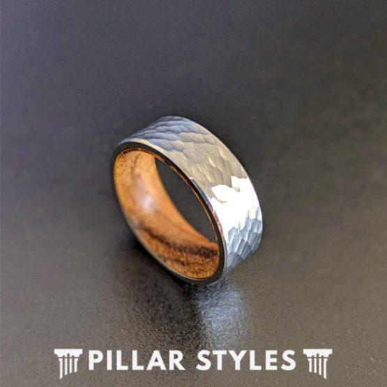 Silver Hammered Tungsten Wedding Band Koa Wood Ring