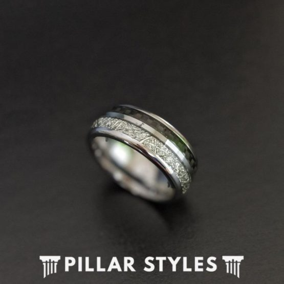 Silver Mens Wedding Band Meteorite Ring with Black Carbon Fiber Ring
