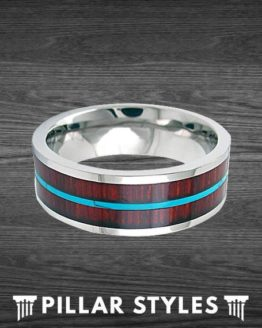 Silver Titanium Wedding Band Hawaiian Koa Wood Inlay with Turquoise Band