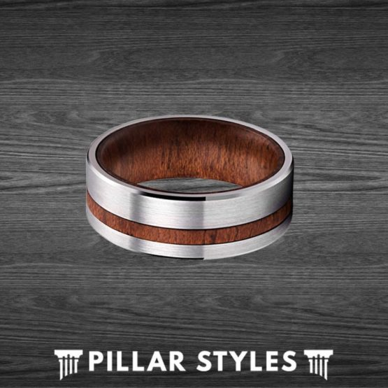 Silver Tungsten Ring Curly Koa Wood Mens Wedding Band