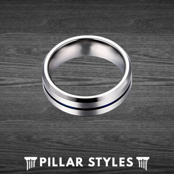 Silver Tungsten Ring Mens Wedding Band Thin Blue Line Ring