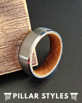 Silver Tungsten Ring Whiskey Wood Wedding Band
