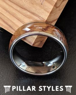 Silver Whiskey Barrel Wood Ring Tungsten Wedding Band