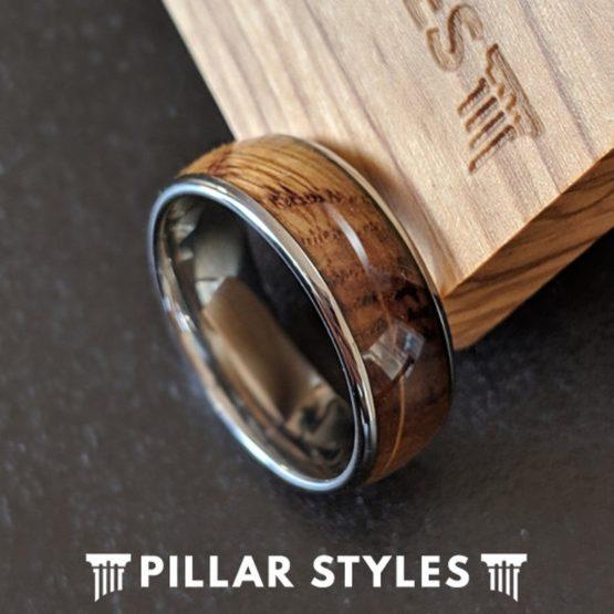 Silver Whiskey Barrel Wood Ring Tungsten Wedding Band